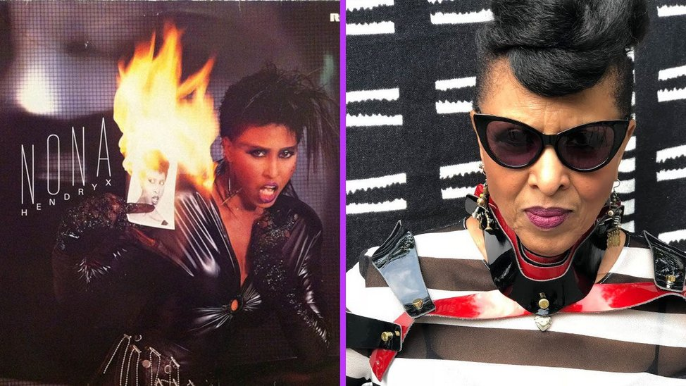 Left: cover of Nona Hendryx's self-titled LP shows Nona in black PVC with a spiked black hairdo holding a black and white photograph of herself. The photograph is on fire and she wears black lace gloves. Right: Nona in a black and white outfit with hair in an elegant topknot with dark sunglasses.