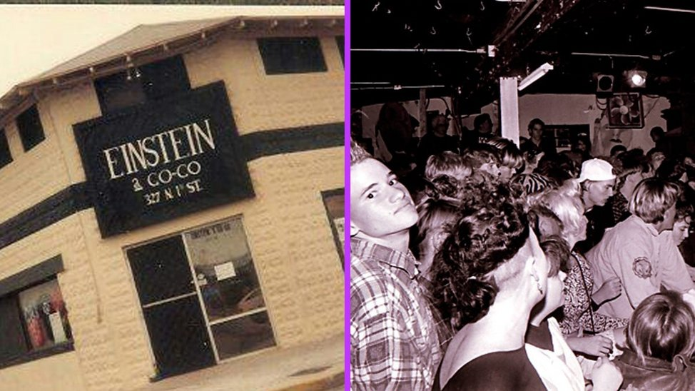 Left: the exterior of a building with the sign 'Einstein A Go Go'. Right: the dark interior of a music venue. The mostly white watches a performance, a young white boy with a gelled mohican and shaved sides looks back towards the camera.